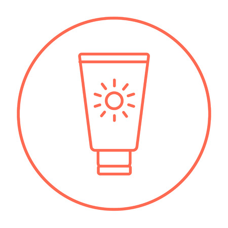 Sunscreen line icon for web, mobile and infographics. Vector red thin line icon in the circle isolated on white background.