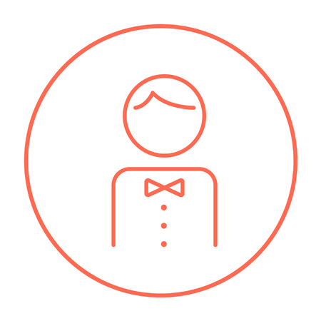 Waiter line icon for web, mobile and infographics. Vector red thin line icon in the circle isolated on white background.