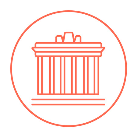 acropolis: Acropolis of Athens line icon for web, mobile and infographics. Vector red thin line icon in the circle isolated on white background.