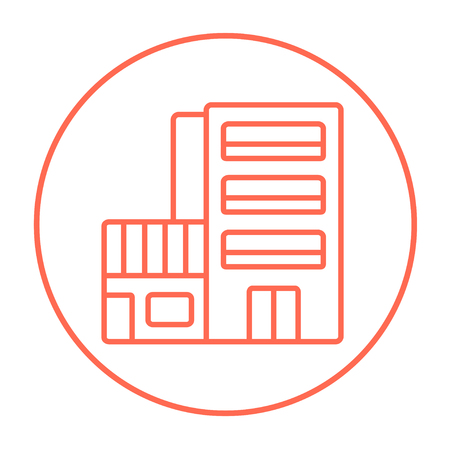 multi storey: Hotel building line icon for web, mobile and infographics. Vector red thin line icon in the circle isolated on white background.