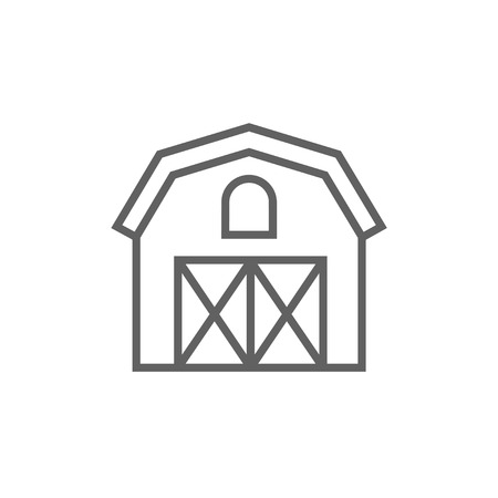 granary: Farm building thick line icon with pointed corners and edges for web, mobile and infographics. Vector isolated icon. Illustration