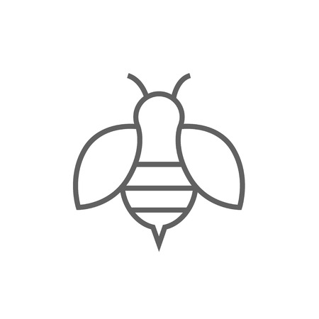 Bee thick line icon with pointed corners and edges for web, mobile and infographics. Vector isolated icon.