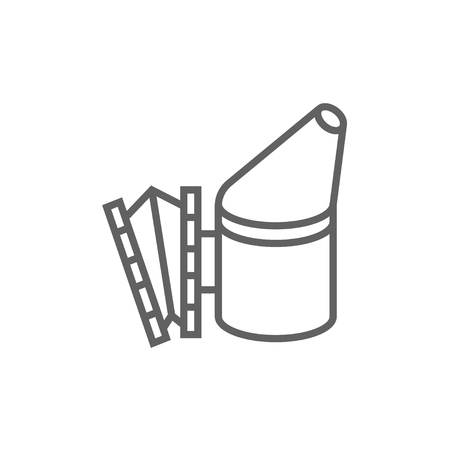 apiculture: Bee hive smoker thick line icon with pointed corners and edges for web, mobile and infographics. Vector isolated icon. Illustration