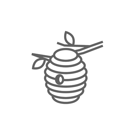 Bee hive line icon for web, mobile and infographics. Vector dark grey icon isolated on white background.