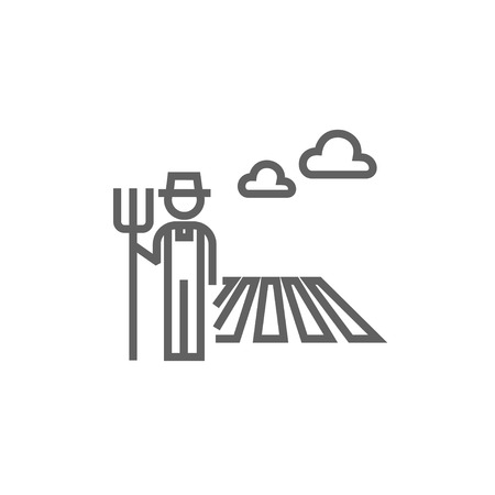 standing in line: Farmer with pitchfork standing on the field thick line icon with pointed corners and edges for web, mobile and infographics. Vector isolated icon.