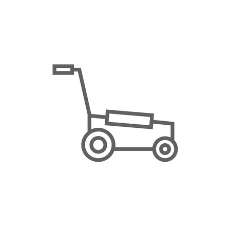 push mower: Lawnmover thick line icon with pointed corners and edges for web, mobile and infographics. Vector isolated icon. Illustration