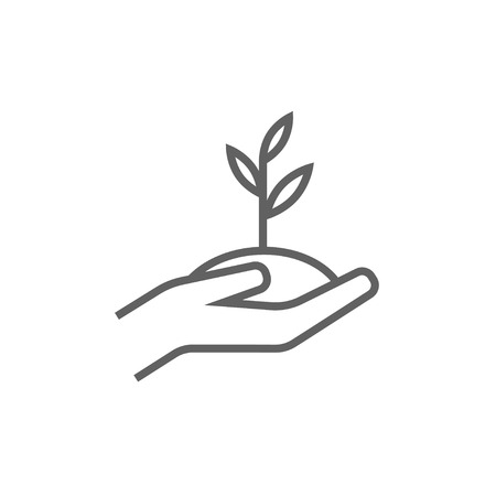 seedlings: Hands holding seedling in soil thick line icon with pointed corners and edges for web, mobile and infographics. Vector isolated icon.