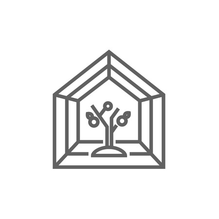 Greenhouse line icon for web, mobile and infographics. Vector dark grey icon isolated on white background.
