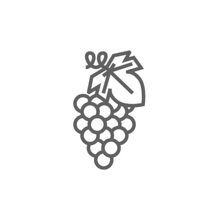 minimal: Grape line icon for web, mobile and infographics. Vector dark grey icon isolated on white background.