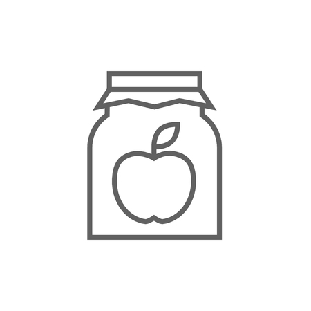 Apple jam jar thick line icon with pointed corners and edges for web, mobile and infographics. Vector isolated icon. Çizim