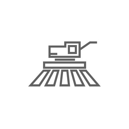 Combine harvester thick line icon with pointed corners and edges for web, mobile and infographics. Vector isolated icon.