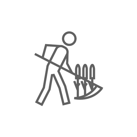 Man mowing grass with a scythe line icon for web, mobile and infographics. Vector dark grey icon isolated on white background.