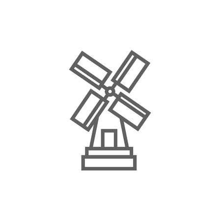 Windmill line icon for web, mobile and infographics. Vector dark grey icon isolated on white background. Ilustrace