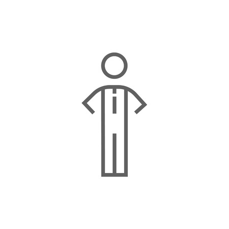 standing in line: Businessman standing thick line icon with pointed corners and edges for web, mobile and infographics. Vector isolated icon. Illustration