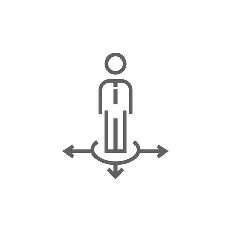 A businessman standing on three alternative ways thick line icon with pointed corners and edges for web, mobile and infographics. Vector isolated icon. Illustration
