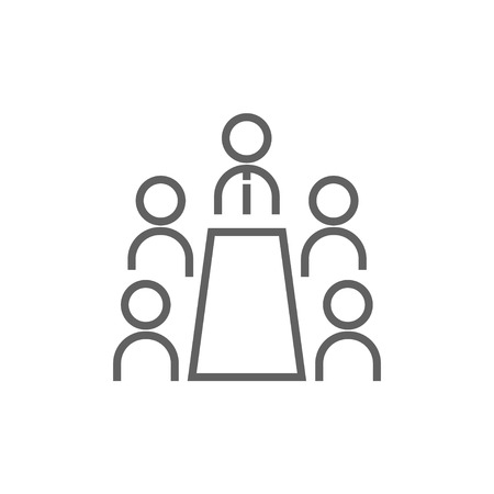 Business meeting in the office line icon for web, mobile and infographics. Vector dark grey icon isolated on white background.