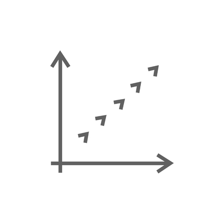 thick growth: Growth graph thick line icon with pointed corners and edges for web, mobile and infographics. Vector isolated icon.