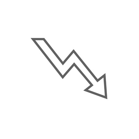 downward: Arrow downward thick line icon with pointed corners and edges for web, mobile and infographics. Vector isolated icon.