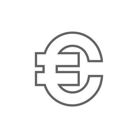price gain: Euro symbol thick line icon with pointed corners and edges for web, mobile and infographics. Vector isolated icon.