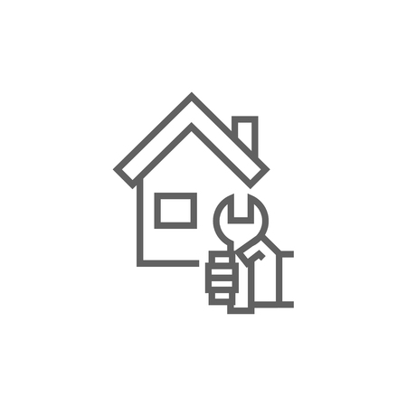 House with wrench line icon for web, mobile and infographics. Vector dark grey icon isolated on white background.