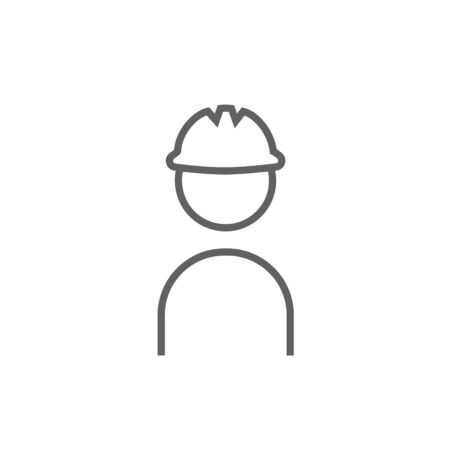 hard hat icon: Worker wearing hard hat thick line icon with pointed corners and edges for web, mobile and infographics. Vector isolated icon.
