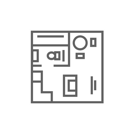 cutaway drawing: House interior with furniture thick line icon with pointed corners and edges for web, mobile and infographics. Vector isolated icon.