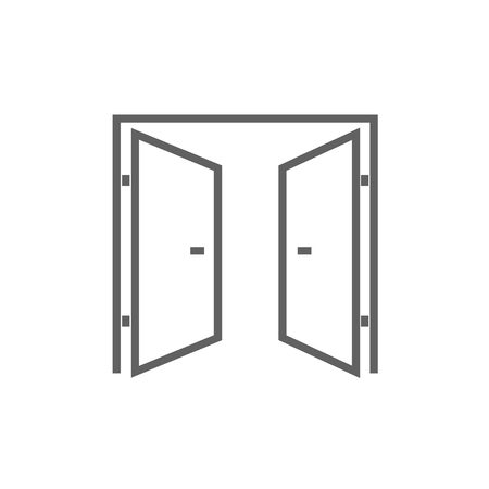 open doors: Open doors thick line icon with pointed corners and edges for web, mobile and infographics. Vector isolated icon. Illustration