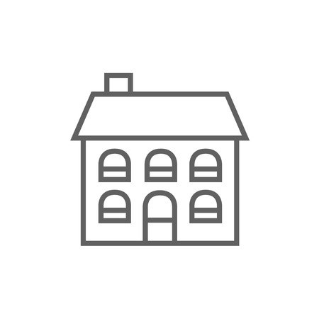 detached: Two storey detached house thick line icon with pointed corners and edges for web, mobile and infographics. Vector isolated icon.
