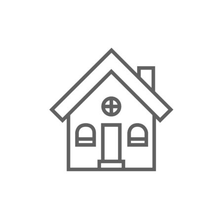 detached house: Detached house thick line icon with pointed corners and edges for web, mobile and infographics. Vector isolated icon.