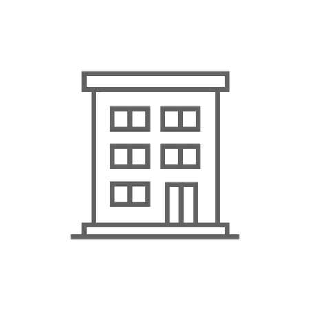 housing project: Residential buildings thick line icon with pointed corners and edges for web, mobile and infographics. Vector isolated icon.