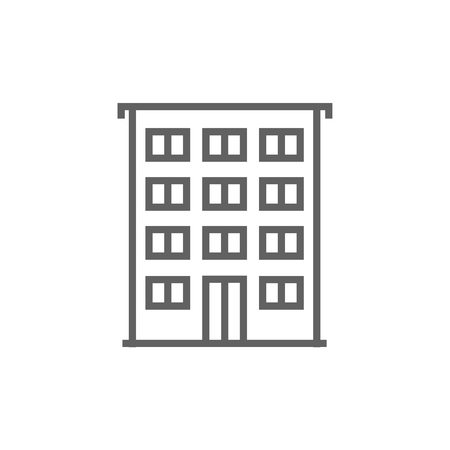 cemented: Residential building thick line icon with pointed corners and edges for web, mobile and infographics. Vector isolated icon. Illustration
