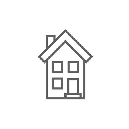 two storey house: Two storey detached house thick line icon with pointed corners and edges for web, mobile and infographics. Vector isolated icon.