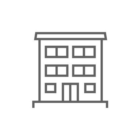 family in front of house: Residential buildings thick line icon with pointed corners and edges for web, mobile and infographics. Vector isolated icon.