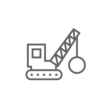 Demolition trailer thick line icon with pointed corners and edges for web, mobile and infographics. Vector isolated icon.