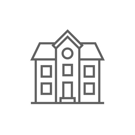 Two storey detached house thick line icon with pointed corners and edges for web, mobile and infographics. Vector isolated icon.