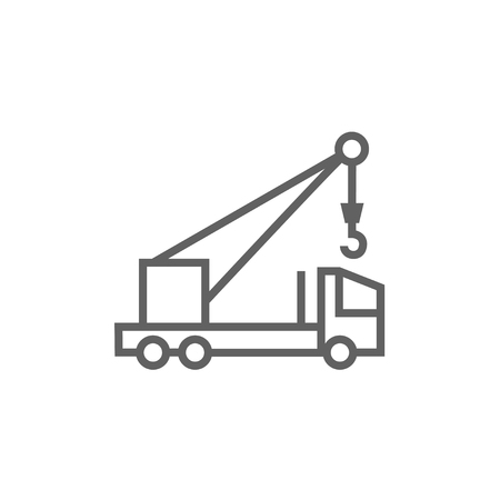 Mobile crane thick line icon with pointed corners and edges for web, mobile and infographics. Vector isolated icon. Illusztráció