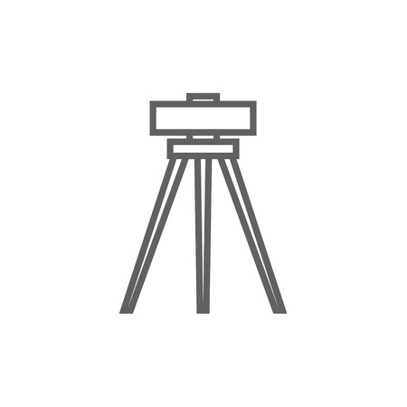 manual measuring instrument: Theodolite on tripod thick line icon with pointed corners and edges for web, mobile and infographics. Vector isolated icon. Illustration