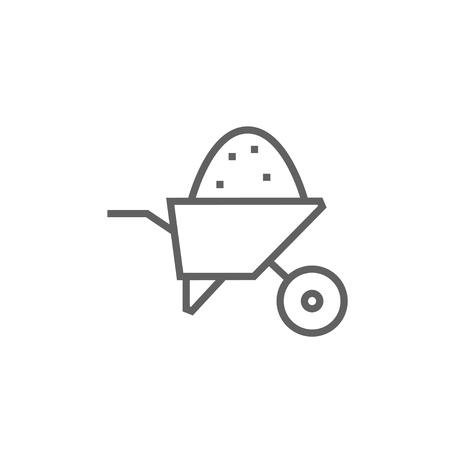 Wheelbarrow full of sand thick line icon with pointed corners and edges for web, mobile and infographics. Vector isolated icon.
