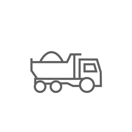 heavy load: Dump truck thick line icon with pointed corners and edges for web, mobile and infographics. Vector isolated icon. Illustration