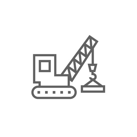 auto hoist: Lifting crane thick line icon with pointed corners and edges for web, mobile and infographics. Vector isolated icon. Illustration