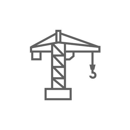 Bouwkraan dikke lijn icoon met puntige hoeken en randen voor het web, mobiel en infographics. Vector geïsoleerde pictogram.