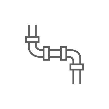 coupling: Water pipeline thick line icon with pointed corners and edges for web, mobile and infographics. Vector isolated icon. Illustration