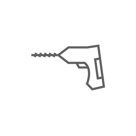 hammer drill: Hammer drill thick line icon with pointed corners and edges for web, mobile and infographics. Vector isolated icon.