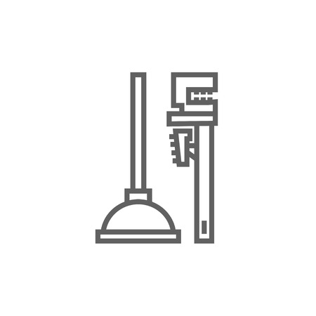 sanitaryware: Pipe wrenches and plunger thick line icon with pointed corners and edges for web, mobile and infographics. Vector isolated icon. Illustration