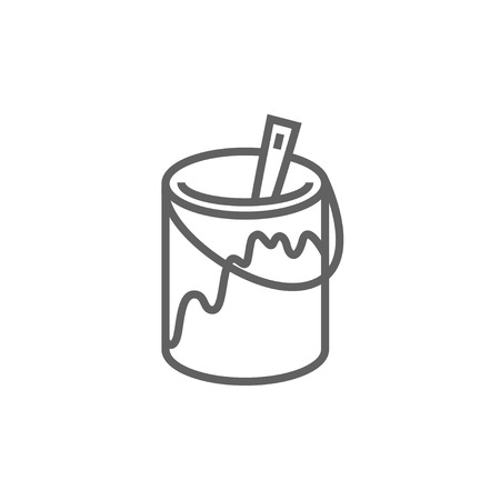 paint container: Paint brush in the paint tin thick line icon with pointed corners and edges for web, mobile and infographics. Vector isolated icon.
