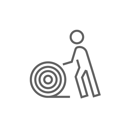 spool: Man with wire spool line icon for web, mobile and infographics. Vector dark grey icon isolated on white background.
