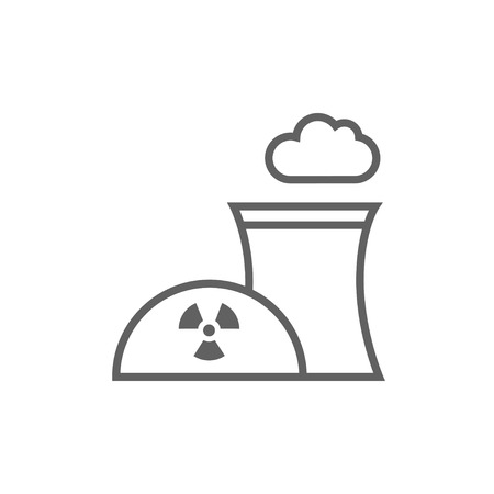 contaminate: Nuclear power plant thick line icon with pointed corners and edges for web, mobile and infographics. Vector isolated icon.