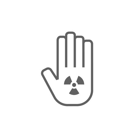 ionizing: Ionizing radiation sign on a palm thick line icon with pointed corners and edges for web, mobile and infographics. Vector isolated icon.