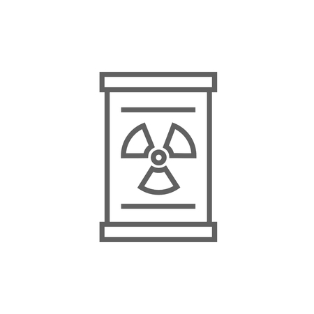 radioactive tank and warning sign: Barrel with ionizing radiation sign thick line icon with pointed corners and edges for web, mobile and infographics. Vector isolated icon.