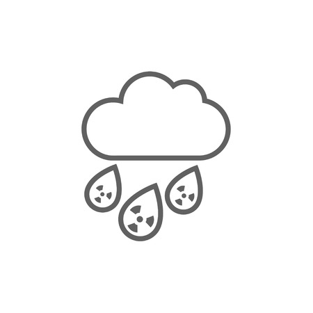 nuclear disaster: Radioactive cloud and rain thick line icon with pointed corners and edges for web, mobile and infographics. Vector isolated icon.